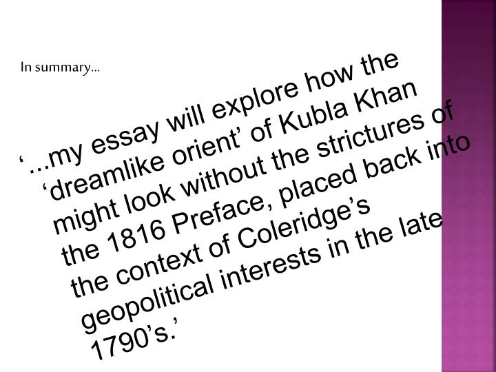 Ppt  Kubla Khan By Samuel Taylor Coleridge Powerpoint Presentation  My Essay Will Explore How The Dreamlike Orient Of Kubla Khan Might  Look Without The Strictures Of The  Preface Placed Back Into The  Context Of  Argument Essay Sample Papers also Essay On English Literature  Computer Science Essay Topics