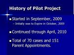 history of pilot project