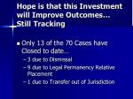 hope is that this investment will improve outcomes still tracking