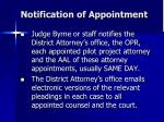 notification of appointment
