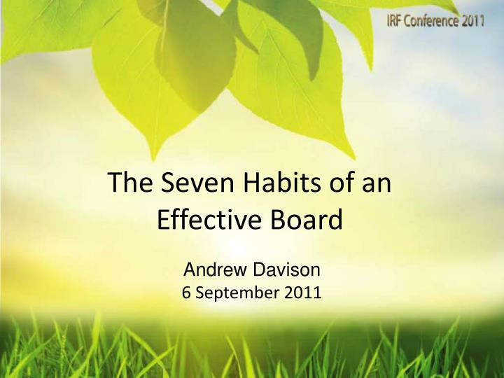 the seven habits of an effective board n.