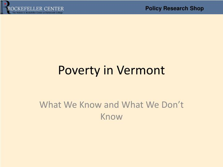 poverty in vermont n.