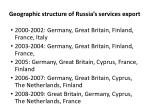 geographic structure of russia s services export