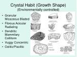 crystal habit growth shape environmentally controlled