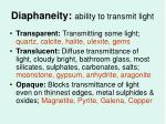 diaphaneity ability to transmit light