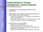 organizational change management lessons learned