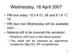 wednesday 18 april 2007