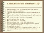 checklist for the interview day