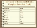 inventory of items needed for a complete interview outfit