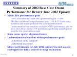 summary of 2002 base case ozone performance for denver june 2002 episode