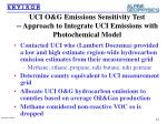 uci o g emissions sensitivity test approach to integrate uci emissions with photochemical model