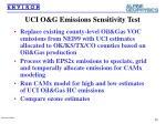 uci o g emissions sensitivity test