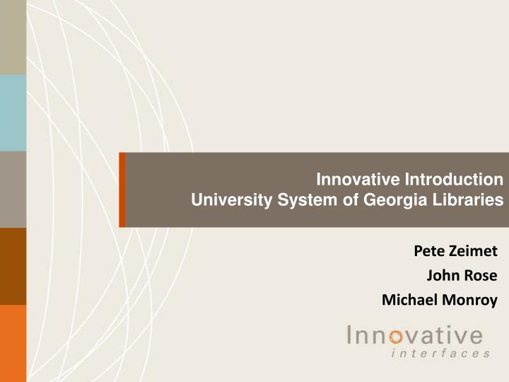 innovative introduction university system of georgia libraries n.
