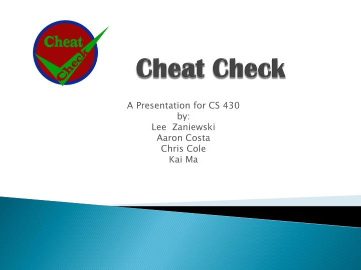 cheat check n.