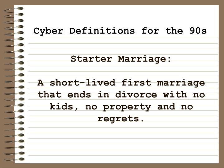 Starter Marriage: