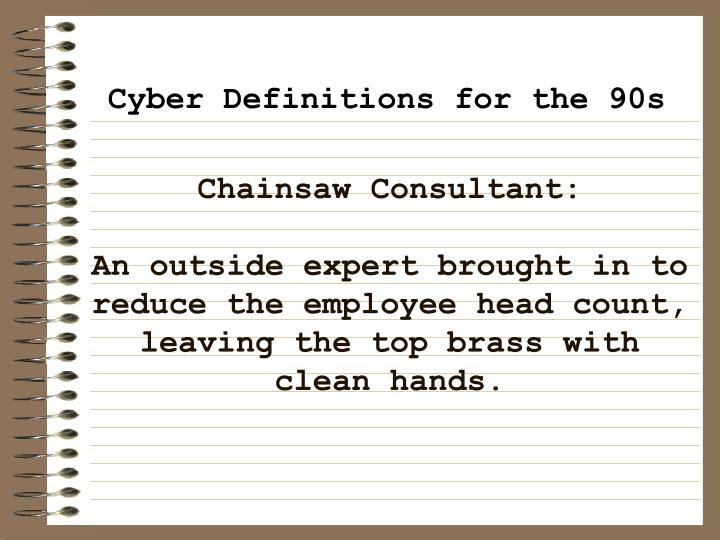 Chainsaw Consultant: