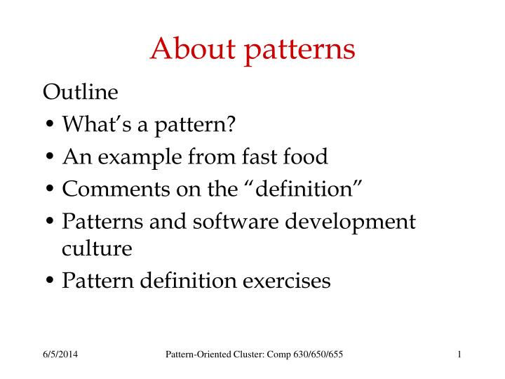 about patterns n.
