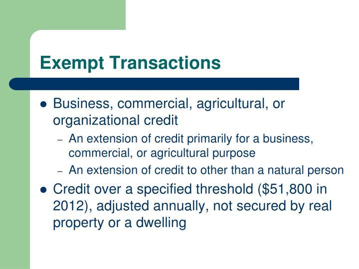 Exempt Transactions
