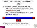 variations in female recombination rate
