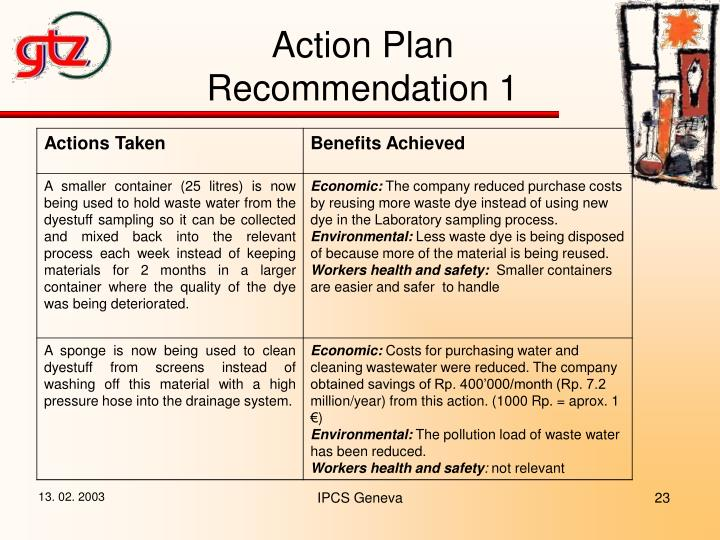 Action Plan Recommendation 1