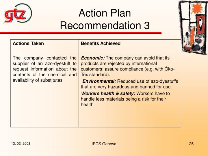 Action Plan Recommendation 3