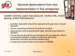 general observations from test implementation in five companies