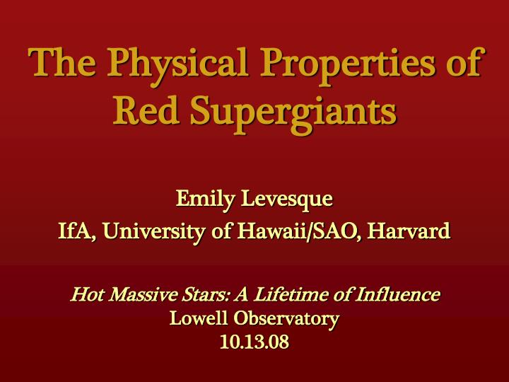 the physical properties of red supergiants n.