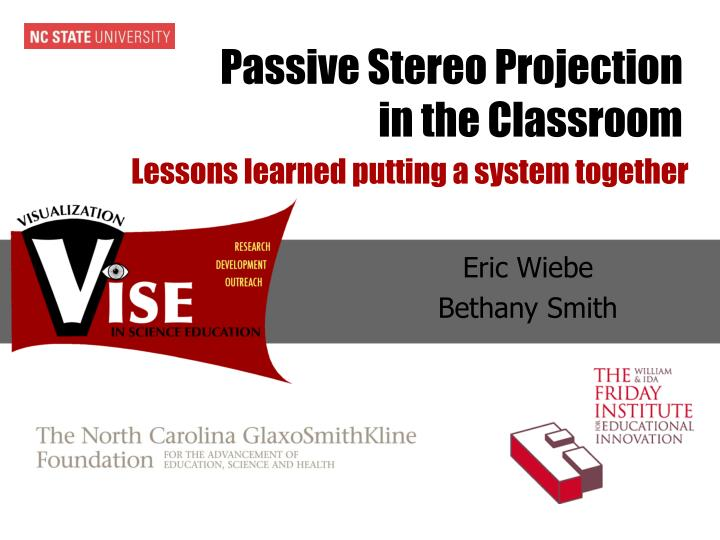 passive stereo projection in the classroom n.