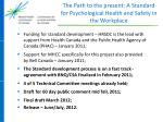 the path to the present a standard for psychological health and safety in the workplace1