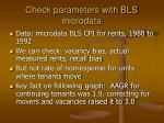 check parameters with bls microdata