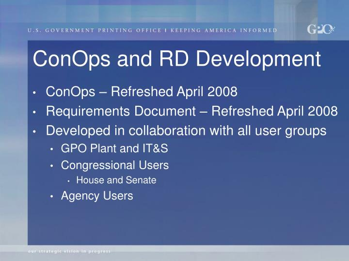 ConOps and RD Development