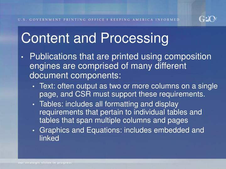 Content and Processing