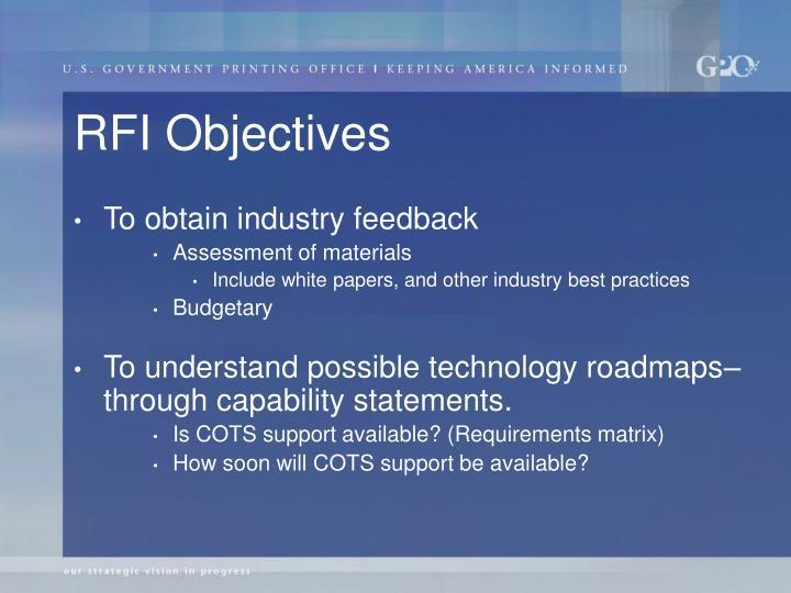 RFI Objectives