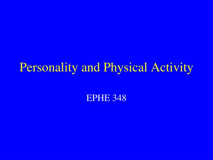 personality and physical activity n.
