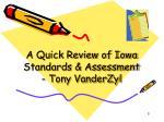 a quick review of iowa standards assessment tony vanderzyl