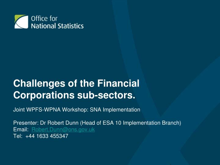challenges of the financial corporations sub sectors n.