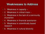 weaknesses to address