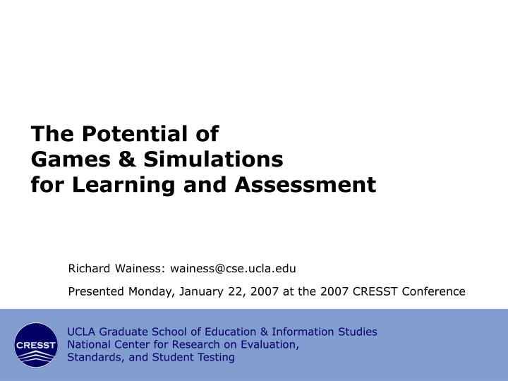 the potential of games simulations for learning and assessment n.