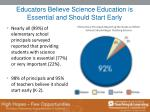 educators believe science education is essential and should start early