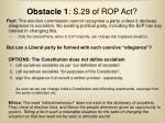 obstacle 1 s 29 of rop act