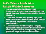 let s take a look at ralph waldo emerson