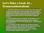 let s take a look at transcendentalism