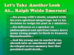 let s take another look at ralph waldo emerson