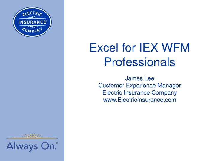 PPT - Excel for IEX WFM Professionals PowerPoint