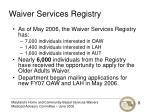 waiver services registry1