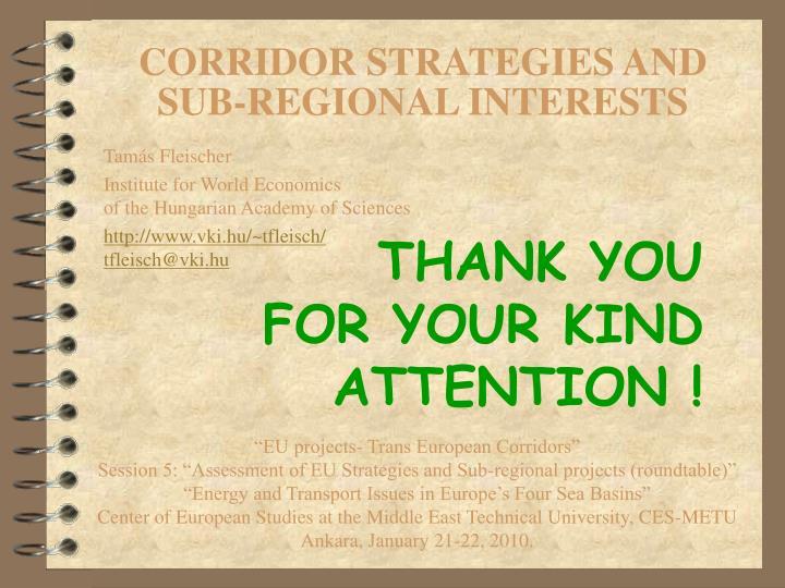 CORRIDOR STRATEGIES AND SUB-REGIONAL INTERESTS