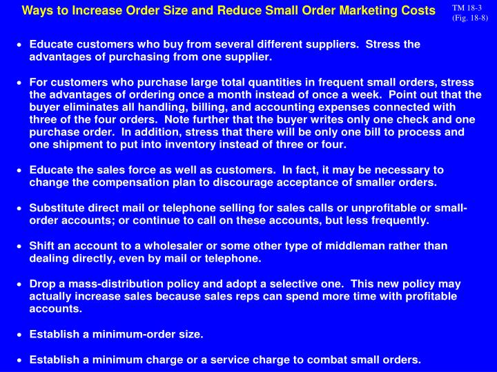 Ways to Increase Order Size and Reduce Small Order Marketing Costs