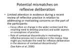 potential mismatches on reflexive deliberation