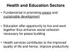 health and education sectors