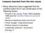 lessons learned from the two cases